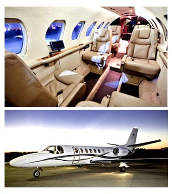 An image of the interior of a business class jet above another image of the exterior of the same vehicle.
